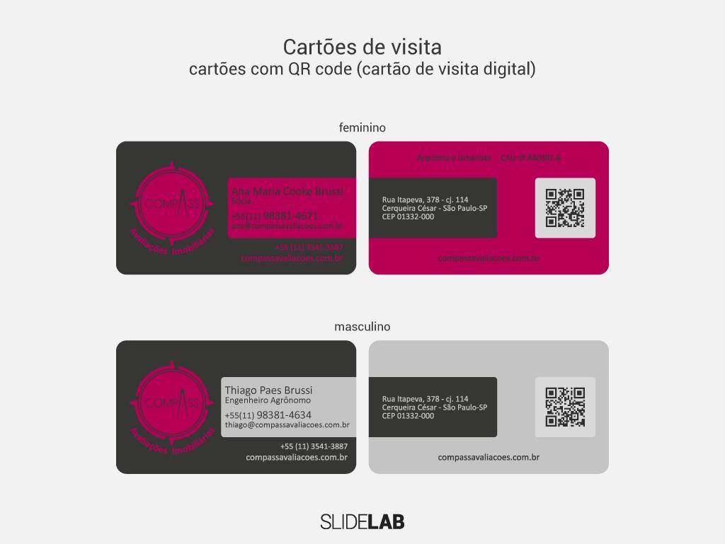 Cartões de visita masculino e feminino criados para a Compass