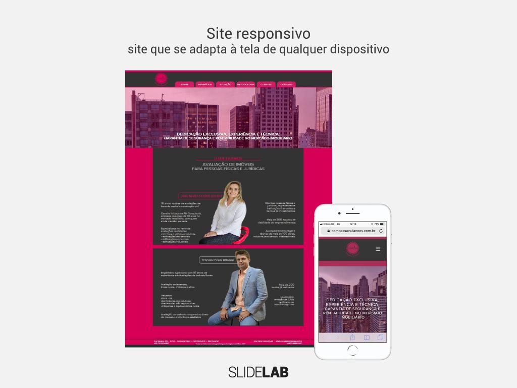 Foto do site responsivo criado para a Compass nas versões desktop e mobile