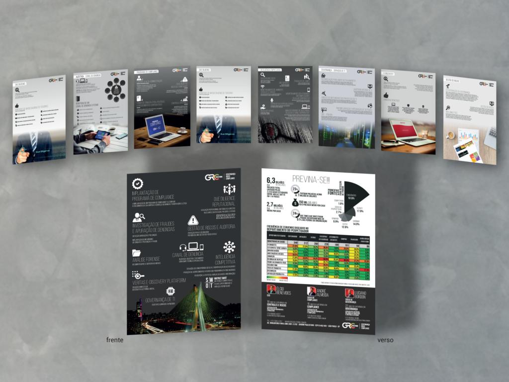 Folders criados pela SLIDELAB foram impressos e distribuídos no estande