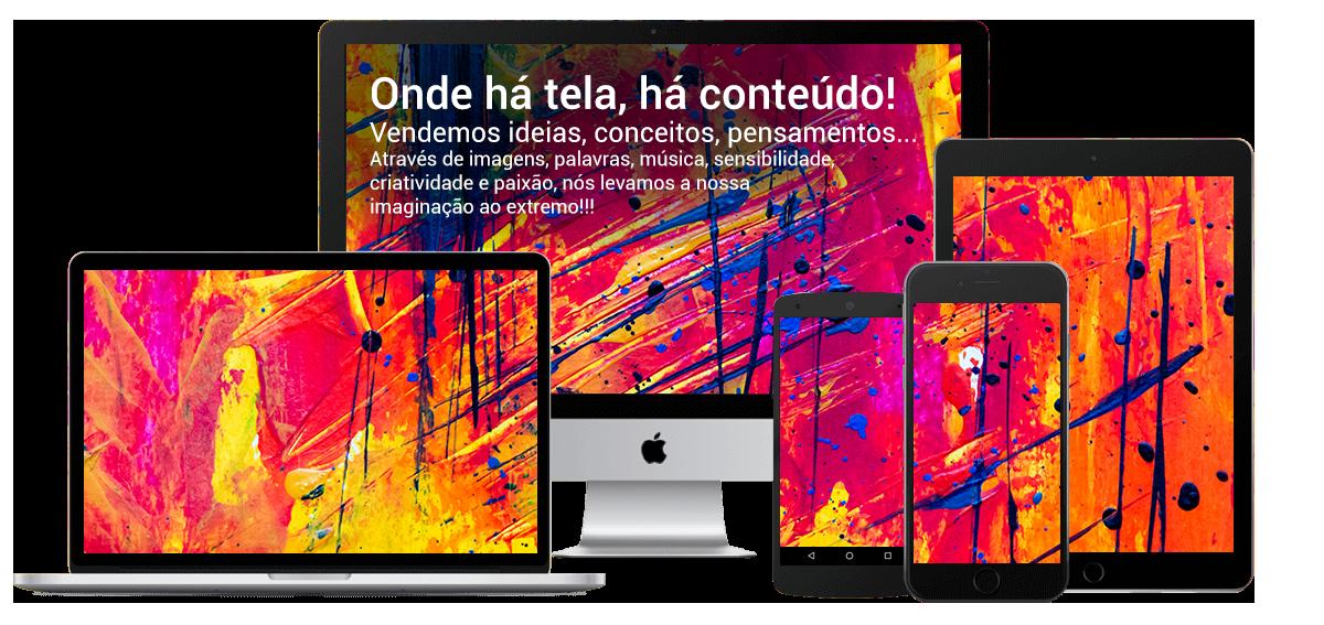 Telas de vários dispositivos (notebook, desktop, celular e tablet) explicando que a SLIDELAB vende ideias, conceitos, pensamos... através de imagens, palavras, etc